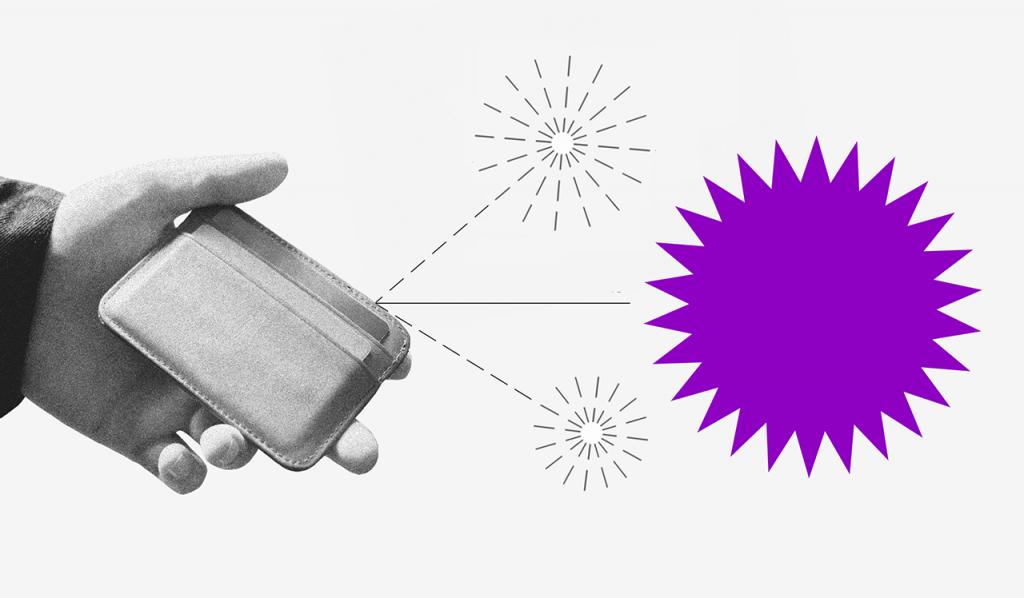 Consumo consciente: uma mão segurando uma carteira de onde saem duas setas pontilhadas, cada uma com um pequeno fogo de artifício no fim