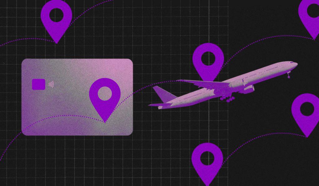 Coronavírus Covid-19: avião roxo voando em meio a pontos de localização