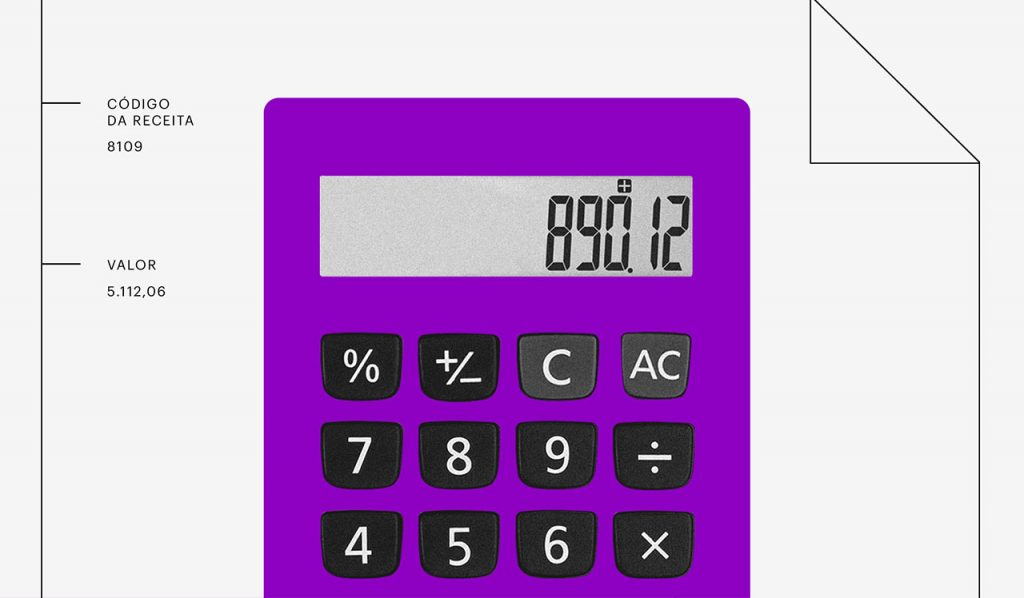 Dividendos: Calculadora roxa com números na tela
