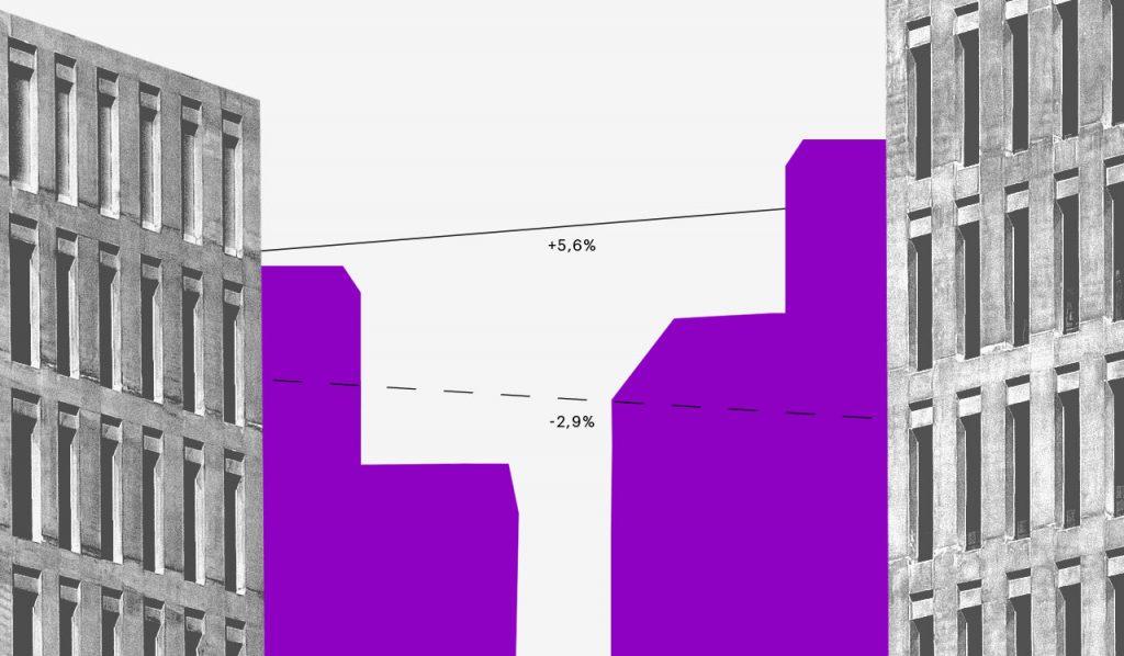 tipos de orçamento: prédios em preto e branco com sombra roxa, um em frente ao outro, e algumas linhas ligando-os.