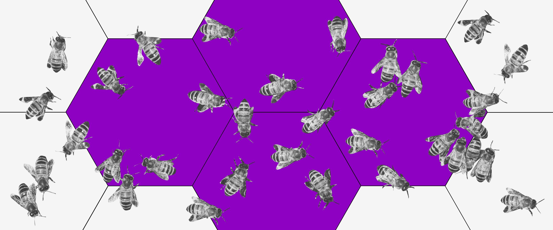 Pandemia: imagem de uma colmeia roxa com várias abelhas espalhadas