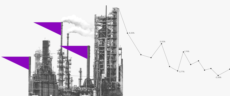Imagem de uma torre de petróleo de onde sai uma linha que sobe e desce, representando a bolsa de valores