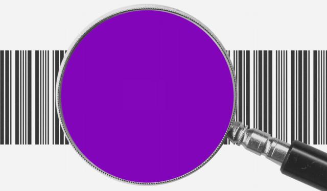 Comprar online com segurança: Uma lupa roxa, com as letras BRL no centro, com um código de barras atrás