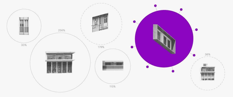 economia com o coronavírus e a quarentena: no fundo branco, colagem de diferentes janelas no meio de círculos. Uma das janelas está dentro de um círculo roxo com bolinhas em volta.