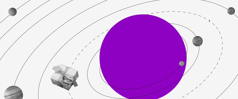 Para além do covid 19: ilustração mostra sistema solar com Sol roxo e planetas de objetos ao redor