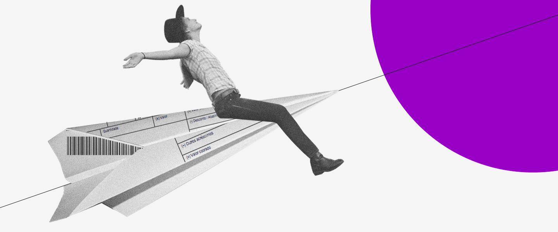 imagem de um avião de papel feito a partir de um boleto. uma pessoa está montada nele com os braços abertos e ele voa em direção a um círculo roxo