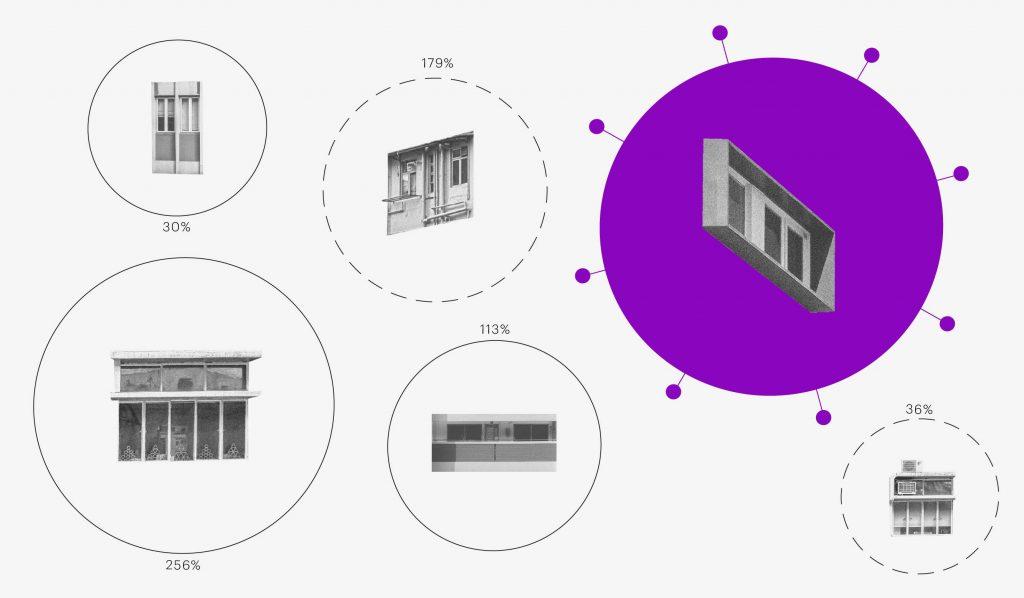 """Como funciona a internet: colagem mostra janelas, em referência ao isolamento social para conter a pandemia, cada uma em sua """"bolha"""" específica."""