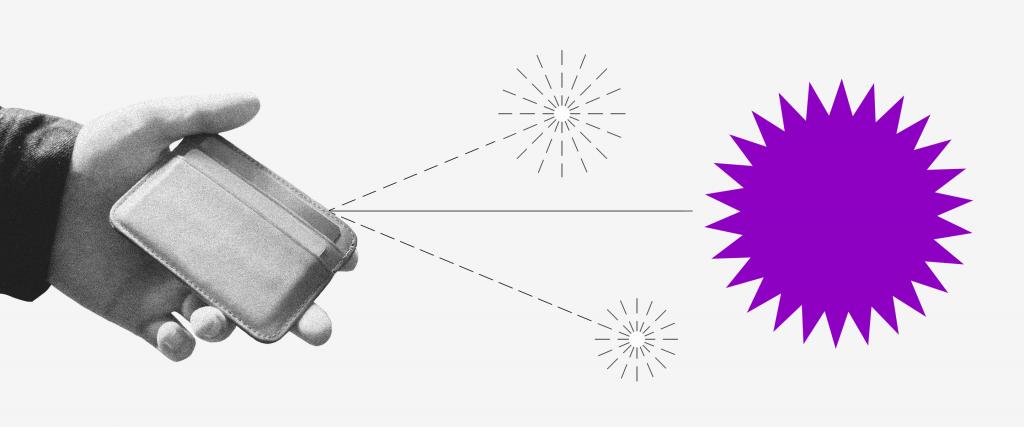 Benefício Emergencial: ilustração mostra mão segurando uma carteira com setas saindo em direção à uma bola roxa com pontas