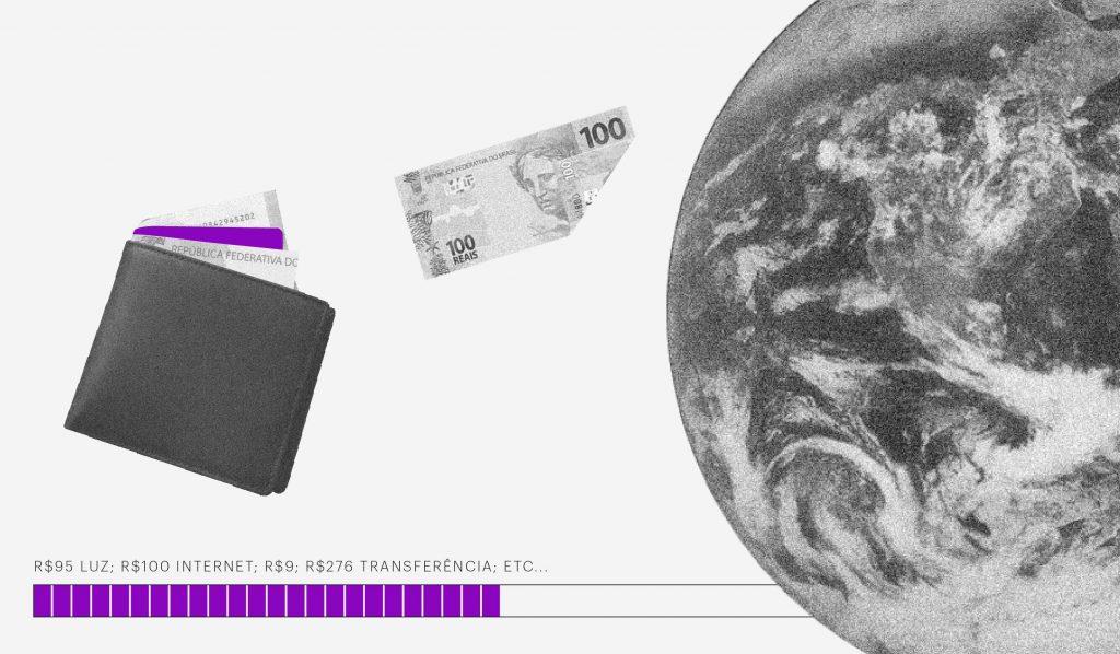 Como organizar o financeiro de uma empresa: no fundo branco, colagem de uma carteira e uma nota de 100 reais saindo dela em direção à imagem da Terra. Embaixo, uma barra de carregamento escrito 95 reais luz, 100 reais internet, 9 reais, 276 reais transferência, etc.