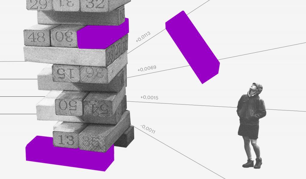 Day trade: uma colagem mostra uma torre de blocos de madeira em preto e branco, com algumas peças roxas, e uma dessas caindo em uma pessoa que observa de longe a torre.