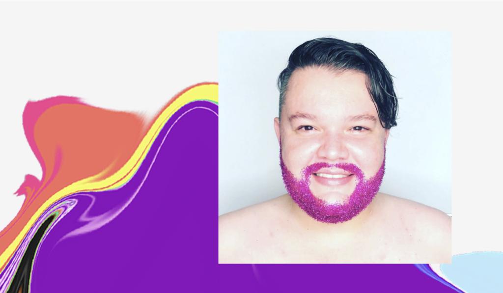 Dia do Orgulho LGBTQIA+: foto de Patricio com a barba rosa