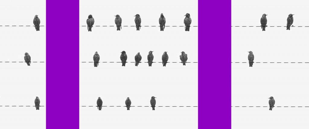 Auxílio emergencial no IR 2021 : ilustração mostra três fios com pássaros pousados sobre eles e dois postes roxos