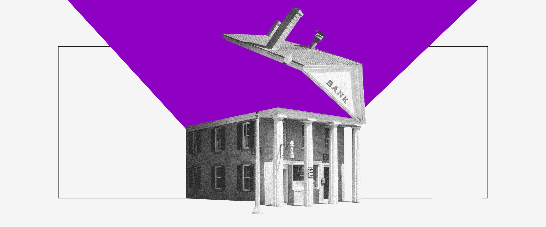Banco Mundial: imagem de um banco antigo com o teto aberto e uma luz roxa saindo dele.