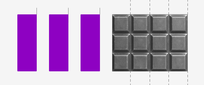 Débito automático prestações de parcelamento de dívida adiados: imagem mostra três retângulos roxos. Depois, uma barra de chocolate com linhas cortando as fileiras.