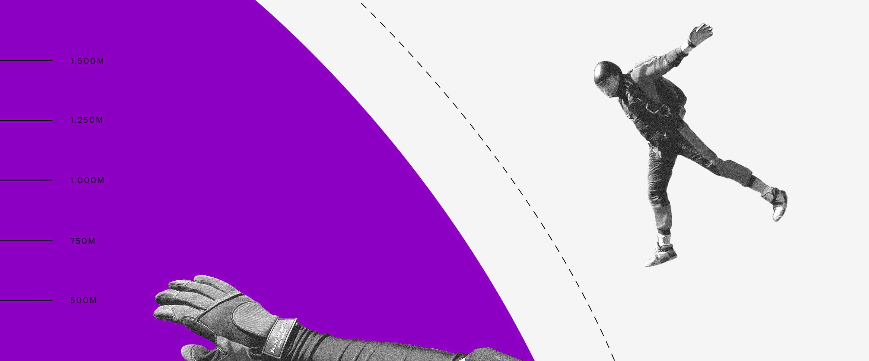 Deflação: imagem de um saltador em queda livre se aproximando de um círculo roxo