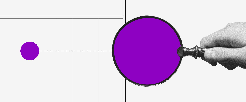 Dicas para visibilidade no Linkedin: ilustração mostra mão segurando lente de aumento roxa, apontada para um ponto roxo sobre um grid