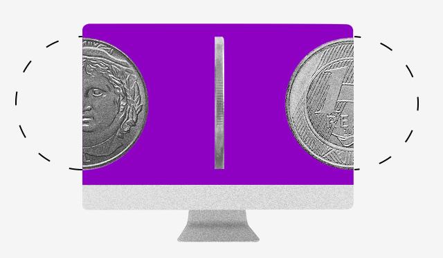 O que é Pix: ilustração de um computador com uma tela roxa com 3 moedas de 1 real