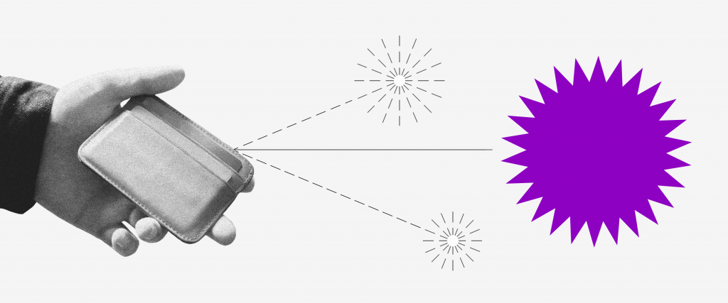 Saque PIS/Pasep: uma mão segurando uma carteira de onde saem duas setas pontilhadas, cada uma com um pequeno fogo de artifício no fim.