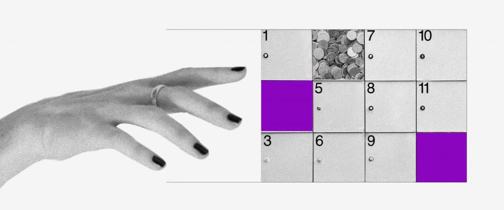 Lotes e parcelas do auxílio emergencial: imagem de um calendário com alguns quadrados cinzas e outros roxos. Um deles está preenchido de moedas. Uma mão se aproxima para pegar as moedas.