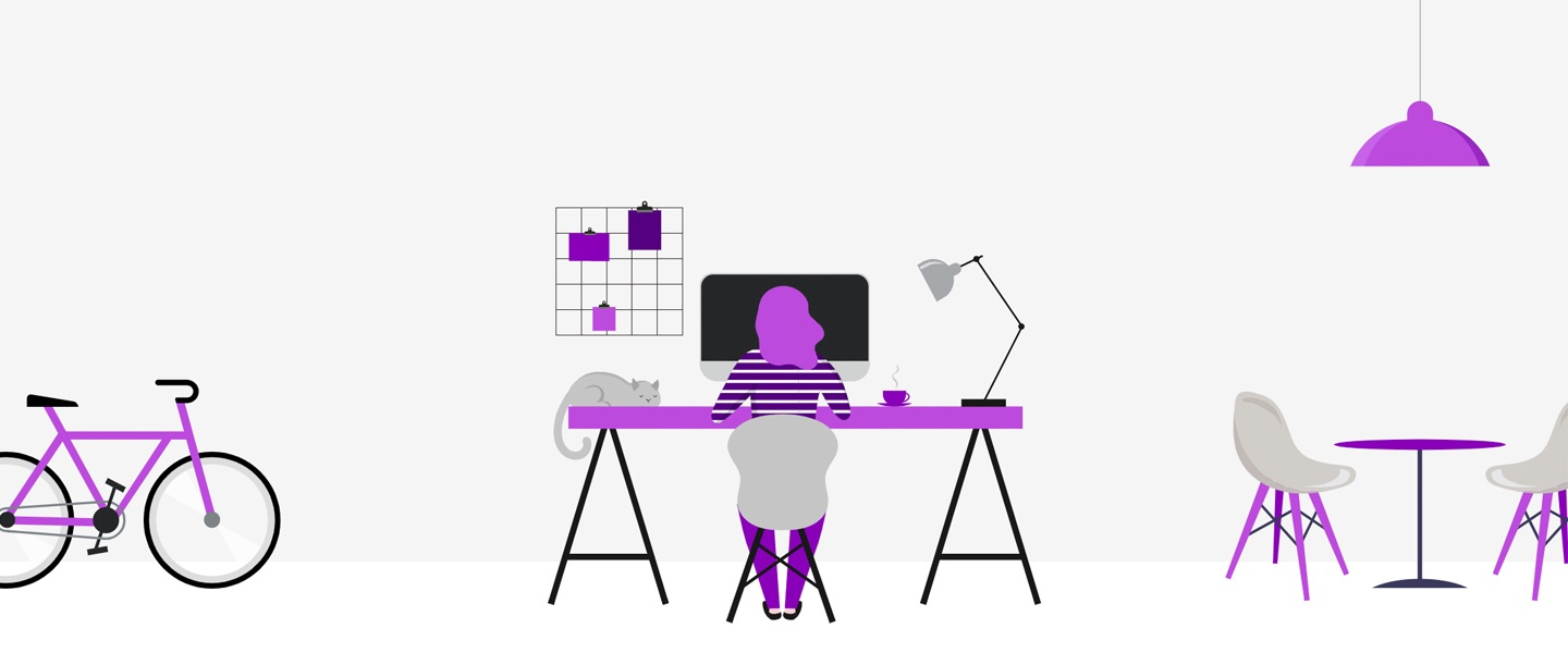 Hiring remotely: illustration shows a girl working on her computaer, with a bike by her side. Everything is in shades of purple