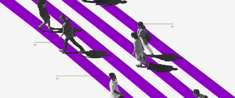 O que é Conta PJ: ilustração mostra pessoas cruzando uma faixa de pedestres roxa