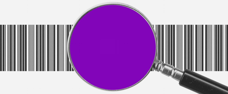 Uma lupa roxa, com as letras BRL no centro, com um código de barras atrás