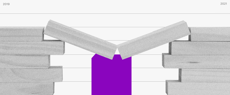 Imagem de dois blocos de madeira, um de cada lado. No meio, outros dois blocos se apoiam sobre uma base roxa, fazendo uma ponte
