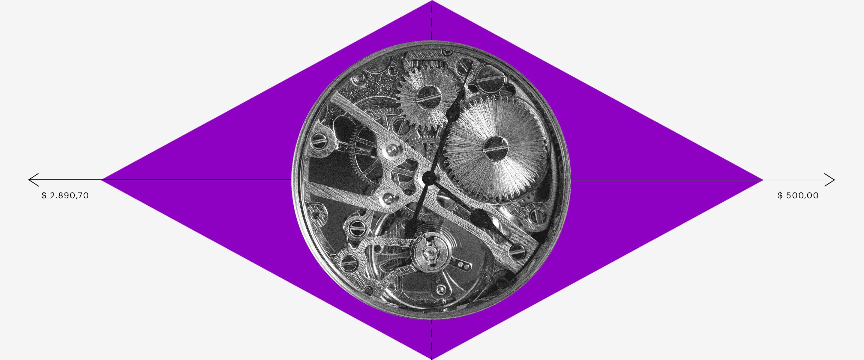 CND FGTS: um losango roxo com a engrenagem de um relógio redondo no meio