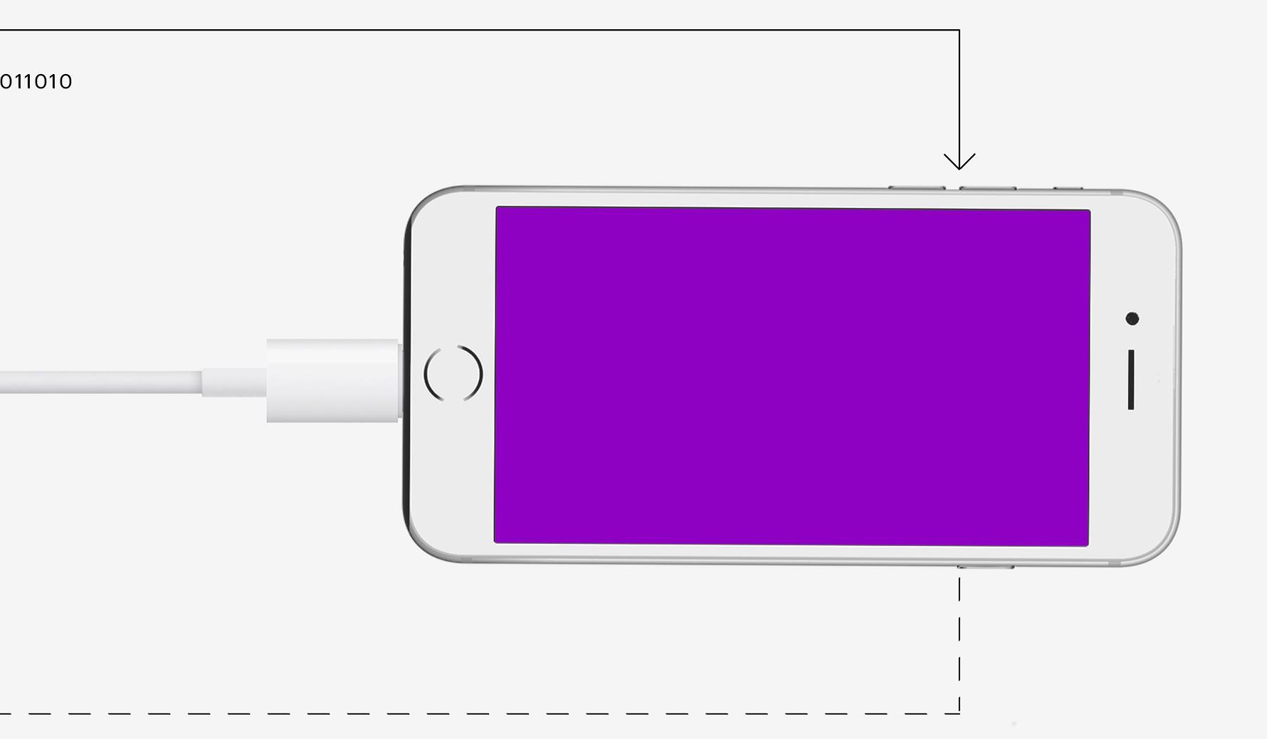 ilustração de um celular com tela roxa, com o cabo conectado a uma moeda de 1 real
