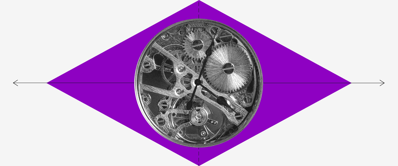 Imagem de uma bandeira do Brasil, mas o losango é roxo e o círculo é a engrenagem de um relógio
