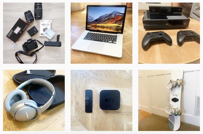 Colagem de imagens de Instagram com 6 itens lado a lado: snowboard, TV digital, fone de ouvido, videogame, notebook e câmera