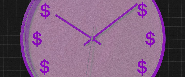 Calendário Bolsa Família 2020: no fundo preto, ilustração de um relógio de ponteiro roxo com cifrões no lugar dos números.