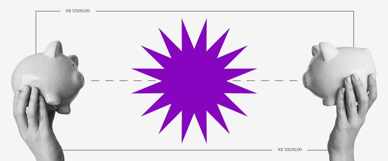 Pix: ilustração de duas mãos segurando um cofrinho de porquinho cada, uma na direita da imagem e outra na esquerda. No centro, uma forma geométrica roxa circular com pontas.