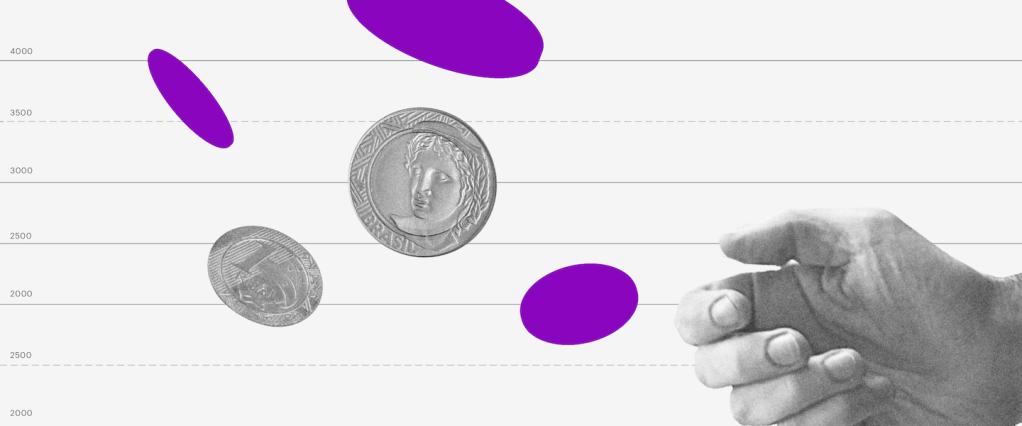 Mão jogando moedas a sua frente com um fundo de gráfico