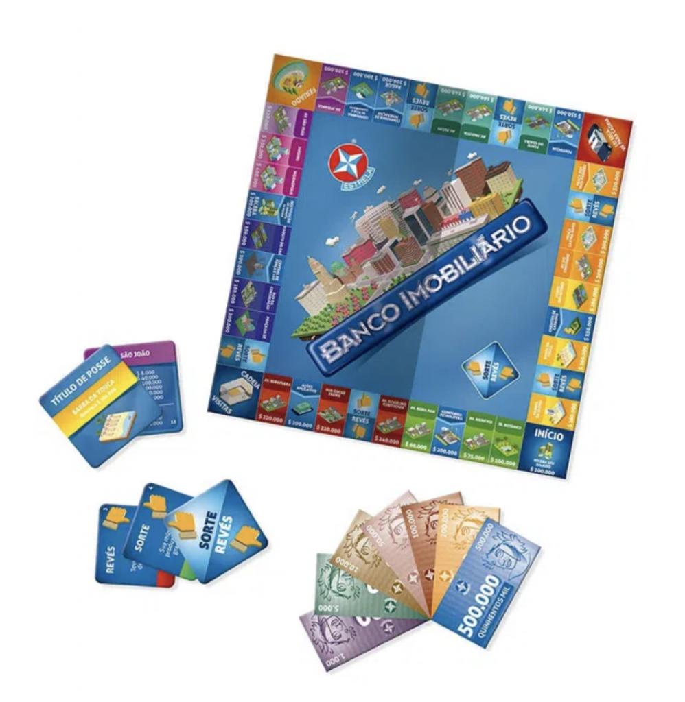 Aprender finanças com jogos: imagem do tabuleiro do jogo Banco Imobiliário, as notas e os cartões
