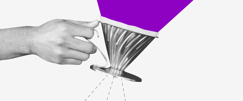 Operação de malha fiscal da pessoa jurídica: ilustração de um coador de café com uma faixa roxa entrando por cima