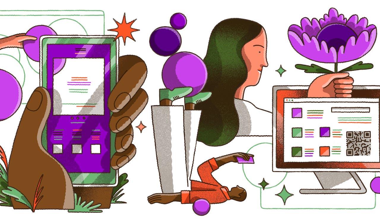 DAS MEI: ilustração digital com elementos que demonstram a digitalização do dinheiro, como uma mão segurando um celular, uma tela de computador com um QR code nela, um homem deitado com as pernas para cima olhando para o celular.