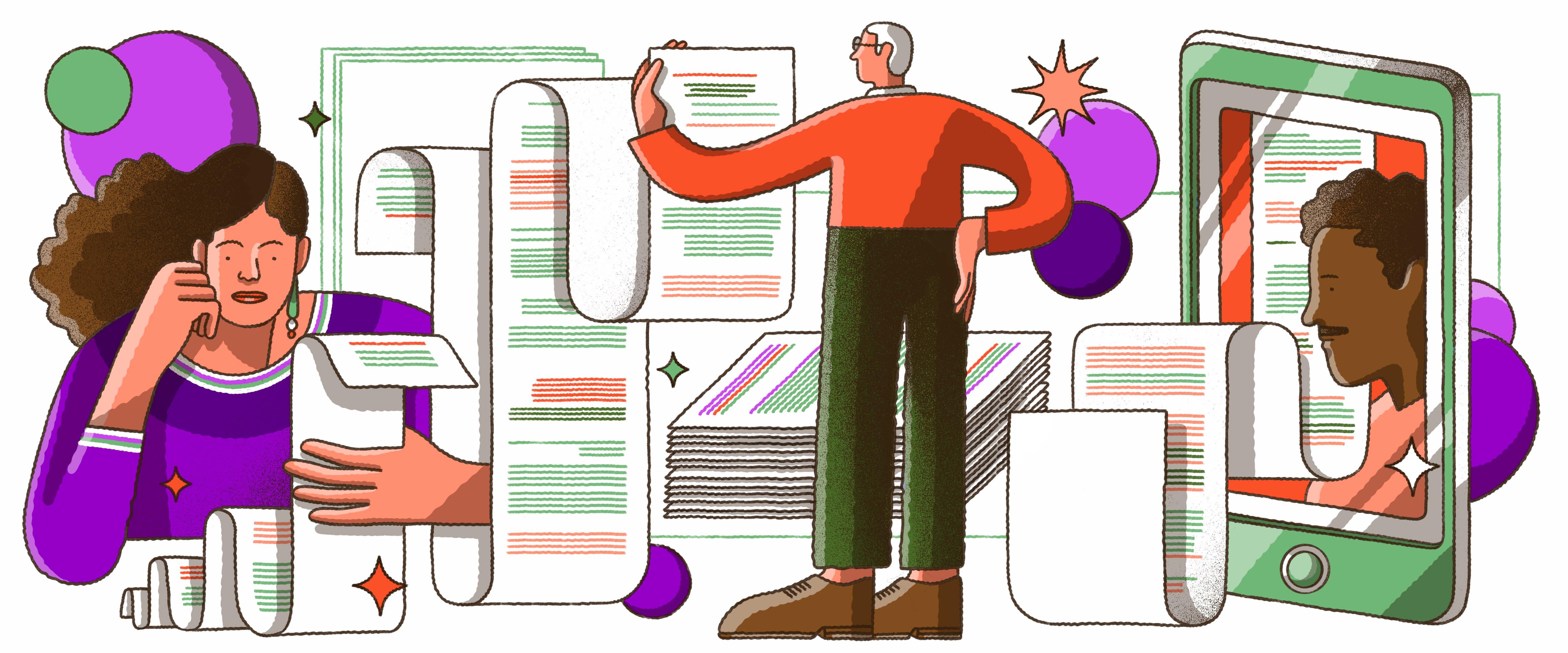 Ilustração que mistura vários elementos: algumas pessoas desenhadas aparecem segurando papeis quilométricos
