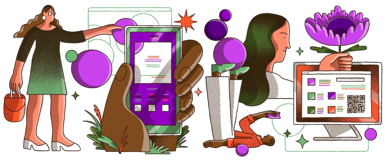 Ilustração com vários elementos em tons roxos e alaranjados: uma mulher, uma mão segurando um celular, uma pessoa deitada com o celular, uma pessoa segurando uma flor em frente a um computador com QR code