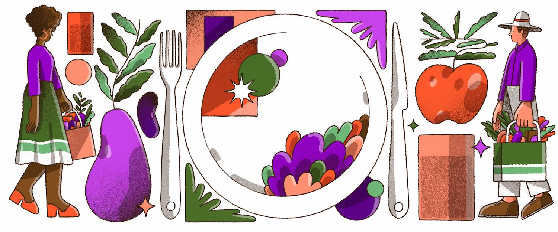 Ilustração com um prato de comida no centro, rodeado por alimentos. Em cada extremidade da imagem, uma pessoa aparece andando com uma sacola de feira