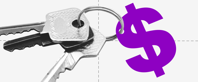 amortização do FGTS: imagem de um cifrão roxo usado como chaveiro de um molho de chaves