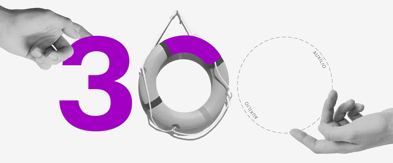 ilustração do número 300 composto por diferentes elementos, incluindo uma boia substituindo o zero do meio e um círculo com a palavra Auxílio o zero da direita. Duas mãos tocam os números nas extremidades.