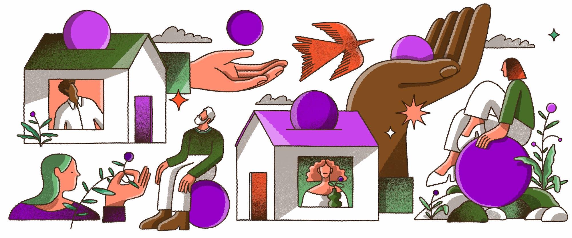 Contestar auxílio emergencial negado: Ilustração que mistura vários elementos: duas casas, uma de telhado verde e outra de telhado roxo, cada uma com uma pessoa olhando pela janela e círculos roxos entrando pelo teto como se fosse uma moeda em um cofre; duas pessoas sentadas sobre círculos roxos; mãos segurando os círculos roxos; uma andorinha vermelha voando