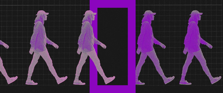 Desenquadramento MEI: no fundo preto, colagem de uma mulher passando por uma porta e mudando a cor das roupas.