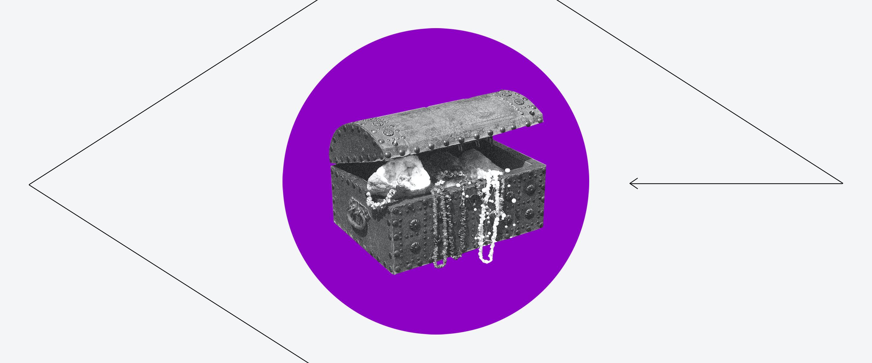 Um Tesouro com joias e outros itens dentro de um círculo roxo e com um losango ao seu redor.