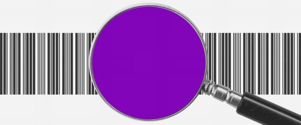 Pix Cobrança: Uma lupa roxa, com as letras BRL no centro, com um código de barras atrás