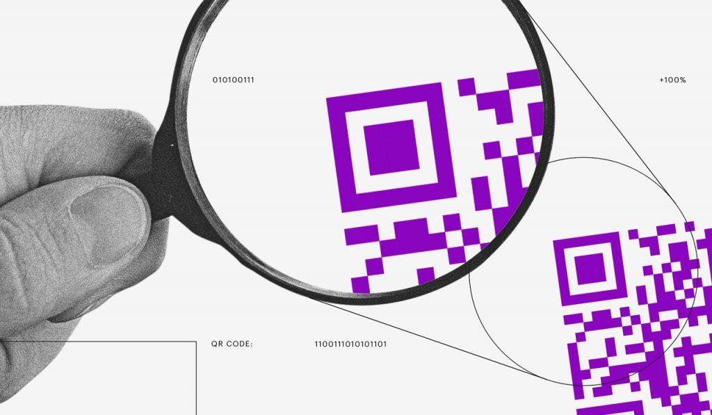 Pix QR Code: ilustração mostra uma mão segurando uma lupa e olhando para um QR Code roxo aumentado