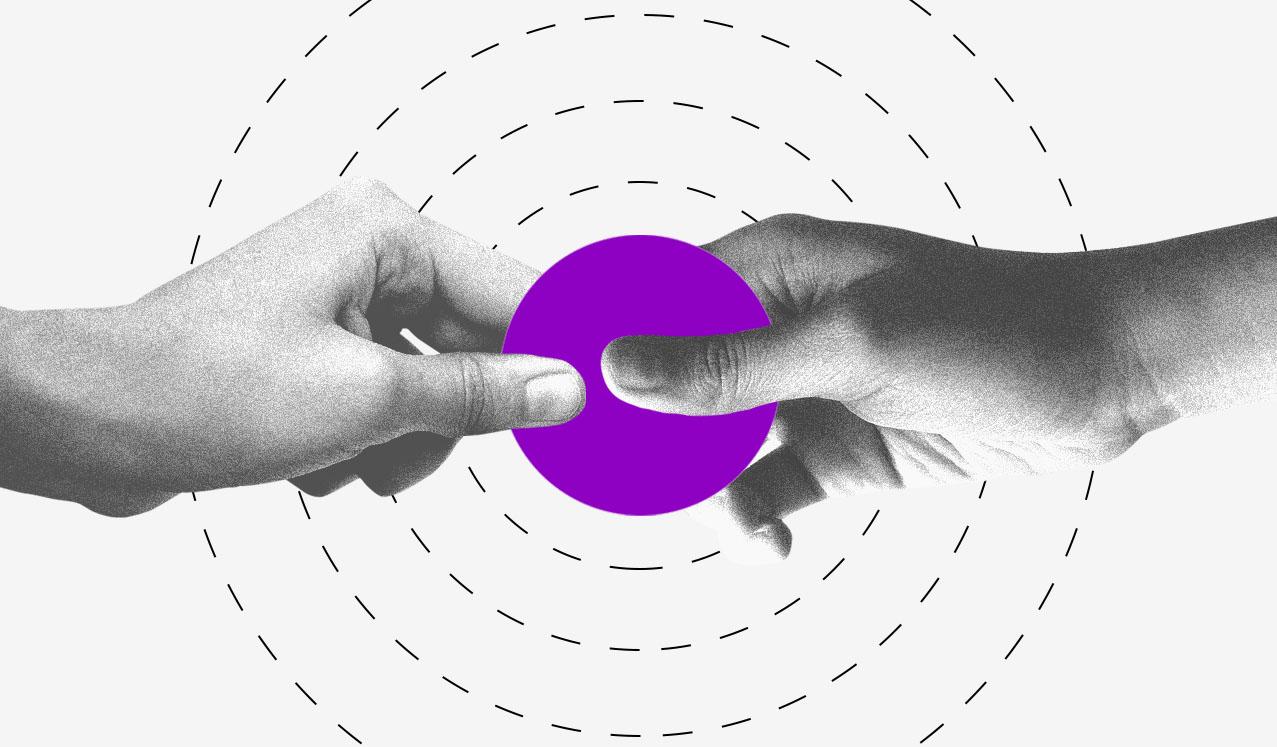 Como vender pela internet: ilustração mostra duas mãos segurando um círculo roxo