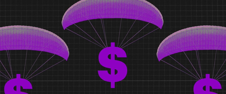 Dívida Pública: Ilustração mostra $ caindo de paraquedas roxos em um fundo preto