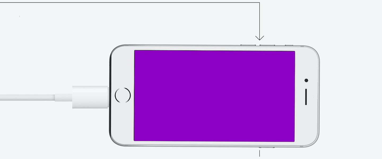ilustração de um celular com tela roxa, com o cabo conectado